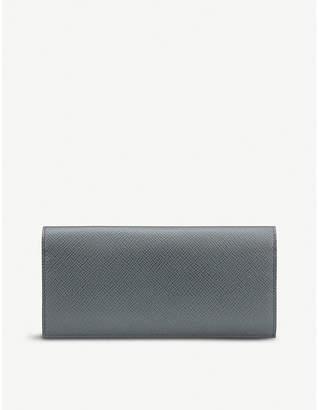 Smythson Panama leather slim coat wallet with coat pocket