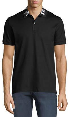 Alexander McQueen Men's Short-Sleeve Cotton Polo Shirt w/ Signature on Collar
