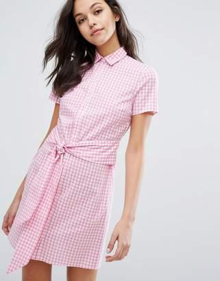 Miss Selfridge Gingham Tie Front Shirt Dress $69 thestylecure.com