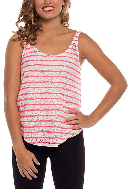 White & Neon Pink Stripe Lace Tank