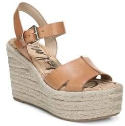 Sam Edelman Women's Maura Leather Platform Wedge Espadrilles - Tan - Size 10