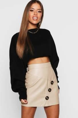 boohoo Petite Mock Horn Button Faux Leather Mini Skirt