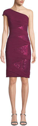 Tadashi Shoji One-Shoulder Jersey Pintuck Dress w/ Sequins