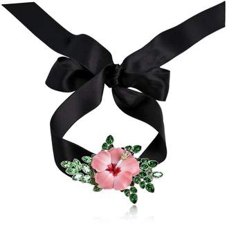DSQUARED2 Satin Choker W/ Flower Detail