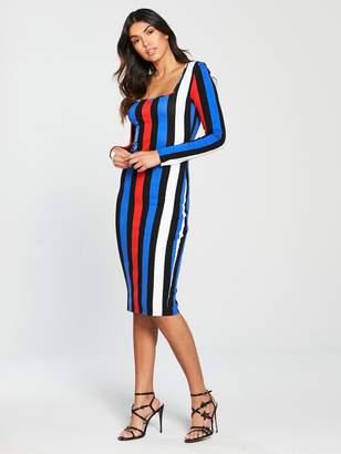 64b337c005 Very Square Neckline BodyconJersey Dress - Stripe