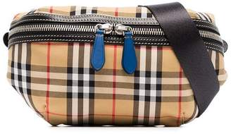 Burberry nude classic check cotton canvas cross-body bag