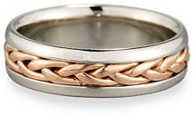 Gents Eli Braided 18K Rose Gold & Platinum Wedding Band Ring, Size 10.5