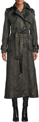 J. Mendel Double-Breasted Belted Metallic Brocade Trench Coat