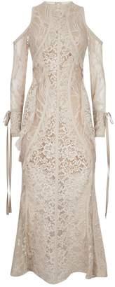 Elie Saab Cold Shoulder Lace Midi Dress