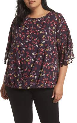 Vince Camuto Etched Ditsy Ruffle Top