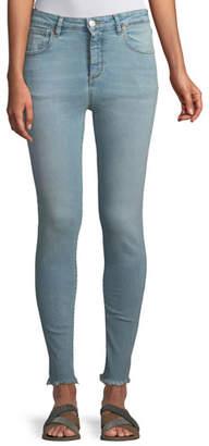 Acynetic Taylor High-Rise Skinny Jeans w/ Frayed Hem