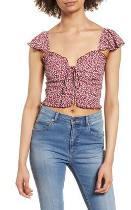 Band of Gypsies Lace-Up Crop Top