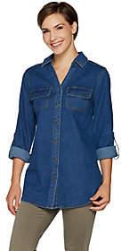 Denim & Co. Button Front Y-Neck Long SleeveDenim Shirt