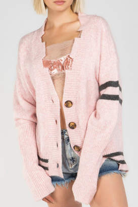 POL Clothing Varsity Stripe Distressd Buttondown Cardigan