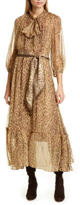 Zimmermann Espionage Leopard Print Tie Neck Silk Midi Dress