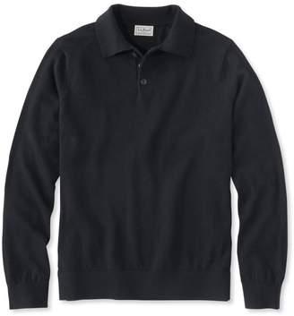 L.L. Bean L.L.Bean Men's Cotton/Cashmere Sweater, Polo Long-Sleeve