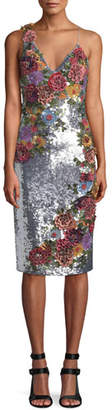 Alice + Olivia Francie Sequin Floral Embellished Cocktail Dress
