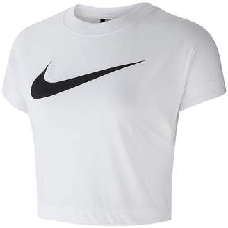 Nike Swoosh Crop Top Womens Crew Neck Short Sleeve T-Shirt