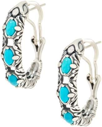 Carolyn Pollack Natural Beauty Sterling Silver Gemstone Hoop Earrings