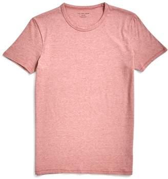 The Idle Man Micro Stripe Organic T-Shirt Orange & White