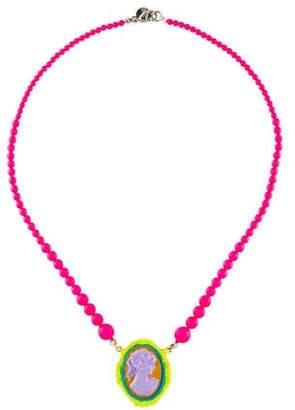 Tom Binns Cameo Beaded Pendant Necklace