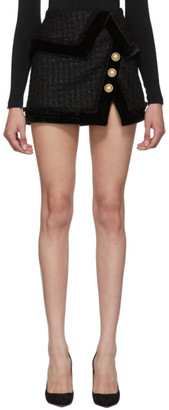 Balmain Black Tweed Fringed Wraparound Miniskirt