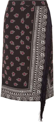 Altuzarra Jude Fringed Wrap-effect Printed Crepe Skirt - Black