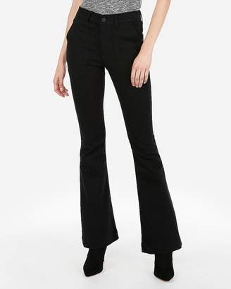 Express High Waisted Black Bell Flare Jeans