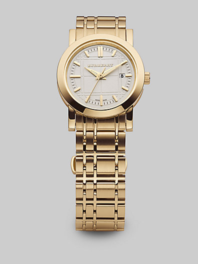 Burberry Ladies Yellow Gold IP Watch