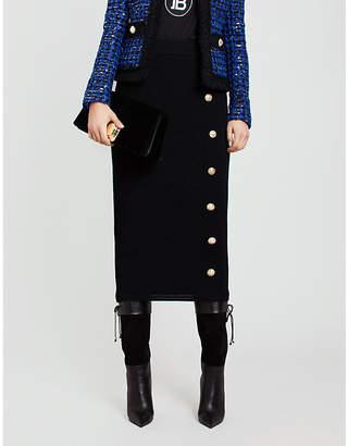 Balmain Buttoned stretch-knit pencil skirt