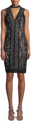 Karl Lagerfeld Lace Choker Sheath Dress