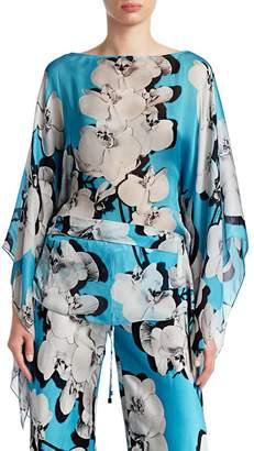 Roberto Cavalli Orchid Print Silk Blouse