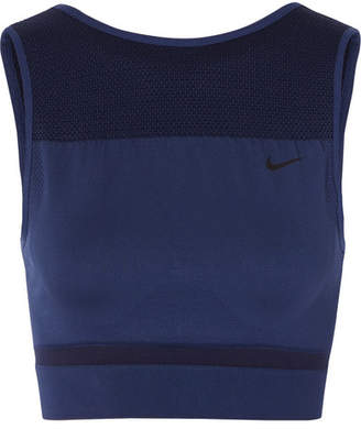 Nike Cropped Stretch Dri-fit Tank - Indigo