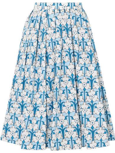 Prada Iris Printed Cotton-poplin Midi Skirt