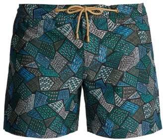 Thorsun - Titan Fit Tile Print Swim Shorts - Mens - Green Multi