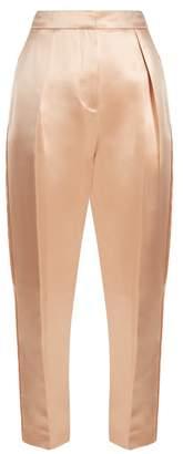 Roksanda Surikov Pleated Front Silk Blend Satin Trousers - Womens - Light Pink