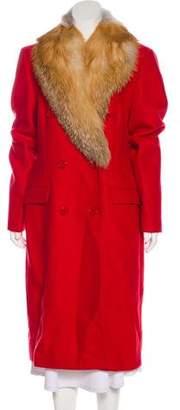 Michael Kors Fox Fur Trimed Virgin Wool Coat