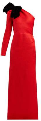 Rebecca De Ravenel Asymmetric Bow Silk Blend Jacquard Gown - Womens - Red