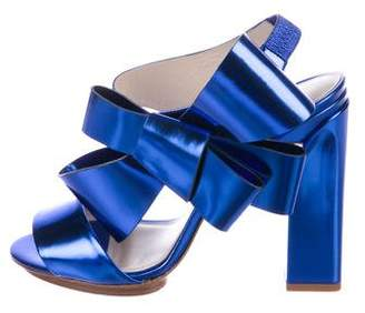 DELPOZO Bow-Accented Metallic Leather Sandals
