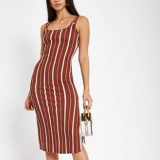 River Island Womens Orange stripe bodycon midi dress
