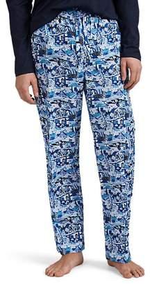 Derek Rose Men's Town-Print Cotton Drawstring Pajama Pants - Blue