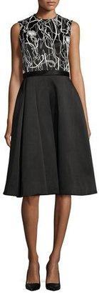Jason Wu Scribble-Print A-Line Combo Dress, Chalk/Black $4,795 thestylecure.com