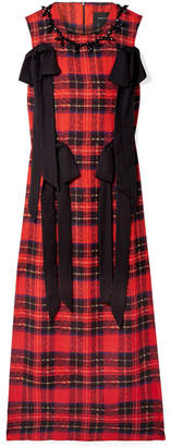 Simone Rocha Embellished Crepe-trimmed Tartan Georgette Midi Dress - Red