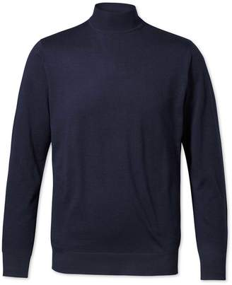 Charles Tyrwhitt Navy Mock Turtleneck Merino Wool Sweater Size Small