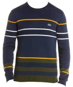 Lacoste Stripe Crewneck Cotton Sweater