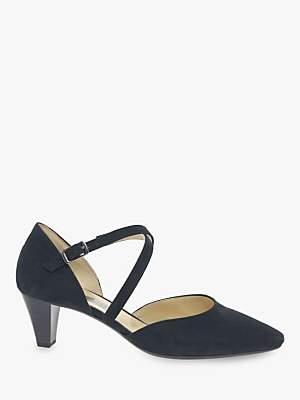 6b890c10b0bf Gabor Callow Cross Strap Block Heel Court Shoes, Pacific Suede
