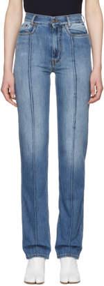 Maison Margiela Blue High-Rise Wide-Leg Jeans