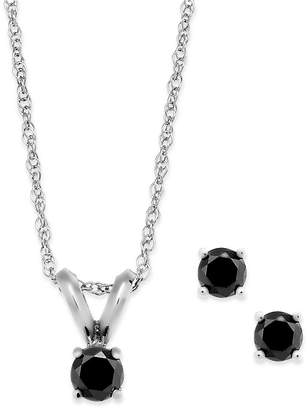 Macy's Black Diamond Jewelry Set in 10k White Gold (1/6 ct. t.w.)