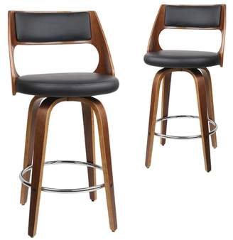 Marcus Collection Set of 2 Swivel Faux Leather Barstools