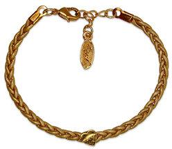 Ettika Gold Braided Leather Heart Bracelet